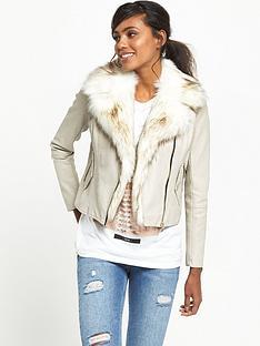 river-island-faux-fur-collar-biker-jacket-stone
