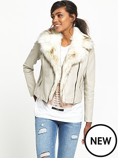 river-island-faux-fur-collar-biker-jacket-stone