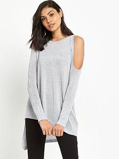 river-island-river-island-silver-knit-cold-shoulder-top