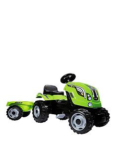 smoby-green-tractor-with-trailer
