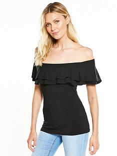 v-by-very-double-layer-frill-neck-bardot-top