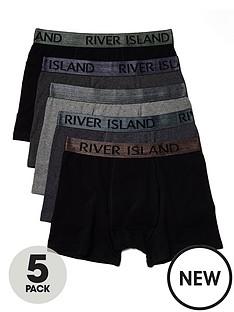 river-island-5-pack-metallic-waistband-trunks