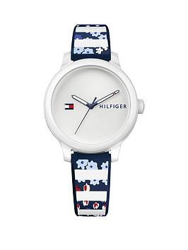 Tommy Hilfiger Tommy Hilfiger Ashley White Dial Blue Striped Silicone Strap Ladies Watch