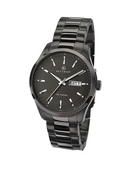 Accurist Accurist Black Date Dial Stainless Steel Bracelet Mens Watch Picture