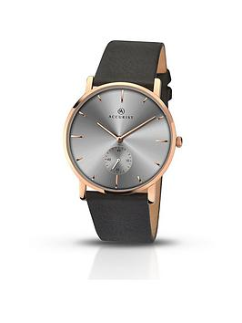 Accurist Grey Dial Rose Tone Case Black Leather Strap Mens Watch