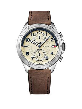 Tommy Hilfiger Tommy Hilfiger Hudson Cream Multi Dial Brown Leather Strap Mens Watch
