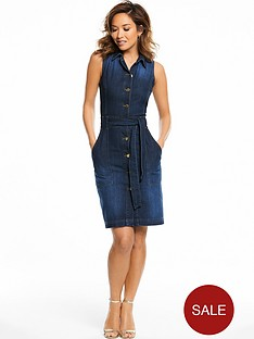 myleene-klass-belted-denim-fitted-dress-indigo