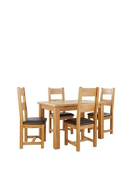 New Oakland 120Cm Solid Wood Dining Table &Amp 4 Oakland Chairs