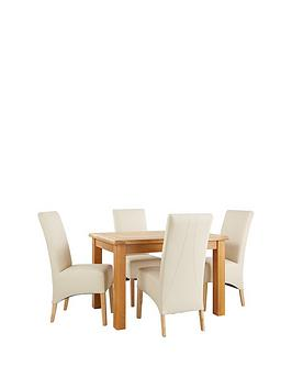 New Oakland 120Cm Solid Wood Dining Table &Amp 4 Eternity Chairs