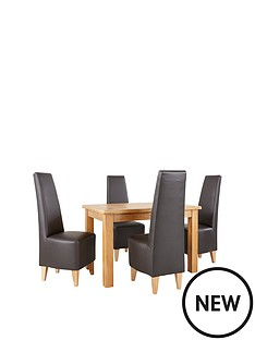 new-oakland-120cm-solid-wood-dining-table-amp-4-new-manhattan-chairs