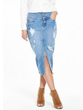 Lost Ink Lost Ink High Waisted Denim Shreaded Skirt