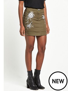 river-island-stud-embroidered-mini-skirt-khaki