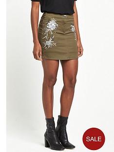 river-island-stud-embroidered-mini-skirt-khaki