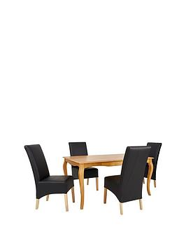 Alisha Solid Wood Dining Table  4 New Eternity Chairs