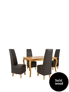 alisha-150-cm-solid-wood-dining-table-4-manhattan-chairs