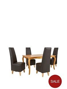 alisha-150-cm-solid-wood-dining-table-4-manhattan-chairs
