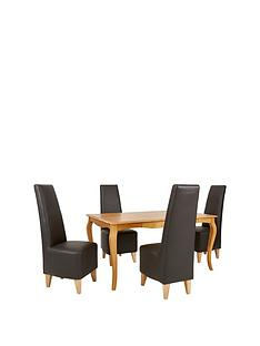 alisha-150-cm-solid-wood-dining-table-4-new-manhattan-chairs
