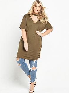 ri-plus-curve-choker-neck-longline-t-shirt-khaki