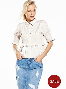 lost-ink-shirred-detail-stripe-shirt