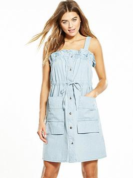 Lost Ink Pika Tie Waist Denim Dress