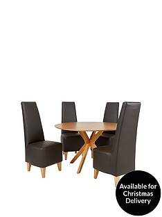 starburst-119-cm-oak-veneer-circular-dining-table-4-manhattan-chairs