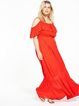 V By Very Curve Rayon Crepe Bardot Dress