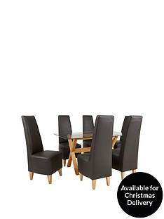 venla-150-cm-solid-wood-and-glass-dining-table-6-manhattan-chairs