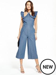 lost-ink-denim-jumpsuit-with-frill-cold-shoulder