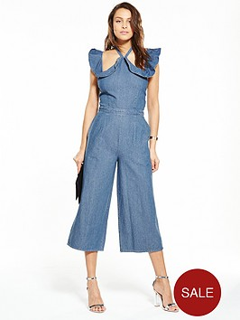 lost-ink-denim-jumpsuit-with-frill-cold-shoulder