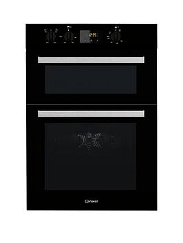 Indesit Aria Idd6340Bl BuiltIn Double Electric Oven  Black  Oven Only