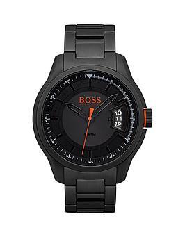 Hugo Boss Orange Hong Kong Sport Blue Dial Black Ip Bracelet Mens Watch