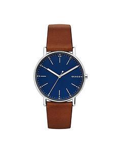 skagen-skagen-signatur-blue-dial-silver-tone-case-dark-tan-leather-strap-mens-watch