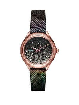 Diesel Diesel Kween Black Giltter Dial Black Leather Strap Ladies Watch