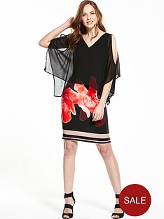 wallis-floral-stripe-overlayer-dress