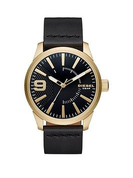 Diesel Rasp Black Dial Black Leather Strap Mens Watch