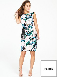 wallis-petite-floral-ruched-side-dress