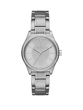 Armani Exchange Silver Tone Dial Silver Tone Bracelet Ladies Watch