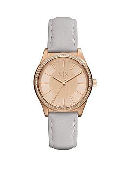 Armani Exchange Rose Tone Dial Grey Leather Strap Ladies Watch