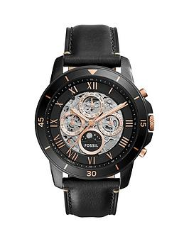 Fossil Fossil Grant Sport Black Skeleton Dial Black Leather Strap Mens Watch
