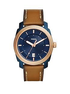 fossil-fossil-machine-blue-dial-tan-leather-strap-mens-watch