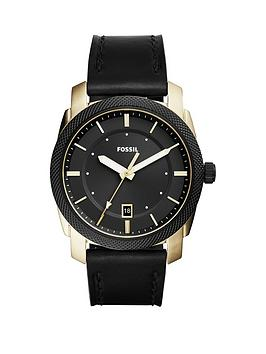 Fossil Fossil Machine Black Dial Black Leather Strap Mens Watch