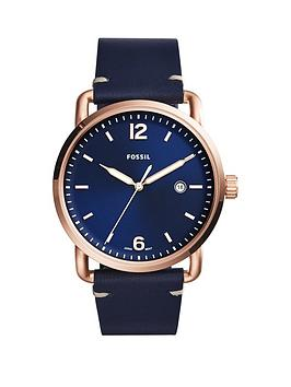 Fossil Fossil Communter Blue Dial Blue Leather Strap Mens Watch