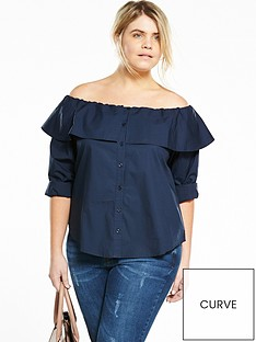fashion-union-curve-curvenbspoff-the-shoulder-shirt-navy