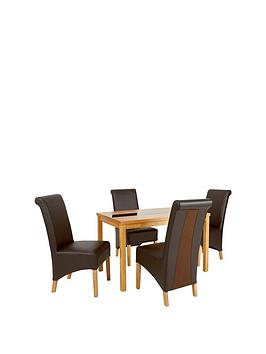 Evelyn Solid Wood And Glass Dining Table &Amp 4 Sienna Chairs