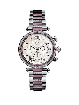 gc-ladychic-swiss-movement-multifunction-silver-purple-case-bracelet-with-white-mother-of-pearl-dial