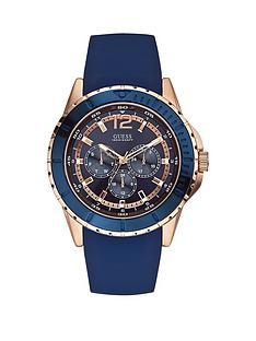 guess-maverick-guess-men039s-rose-gold-and-blue-silicone-watch