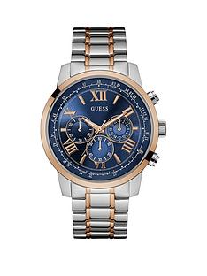 guess-horizon-guess-men039s-silver-watch-with-gold-trim-blue-chronograph-dial-and-rose-gold-and-silver-bracelet