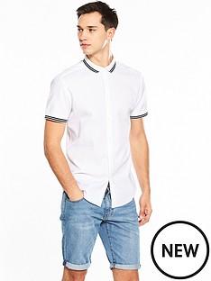 v-by-very-short-sleeve-textured-rib-collar-shirt