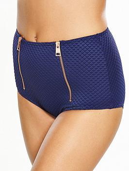 V By Very Zip Detail Textured High Waist Bikini Brief