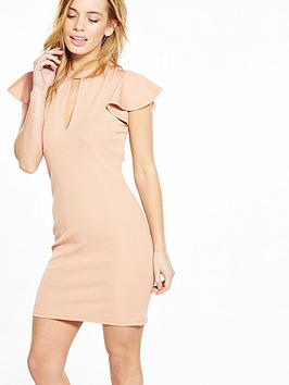 V By Very Petite Petite Angel Sleeve Rib Bodycon Dress